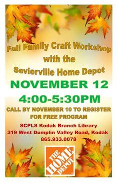 SCPLS Kodak Branch Library Fall Family Craft Workshop