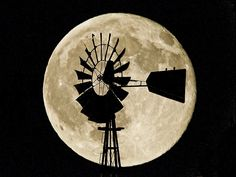 Windmill & full moon