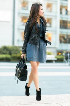 San Francisco  :: Chambray dress   I LOVE the way Wendy layered the jacket with a dress that has a collar! I have been trying to find a way to wear my collared dresses in cooler weather ~Linz