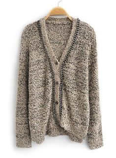 Light Brown Long Sleeve Sequined Cardigan Sweater