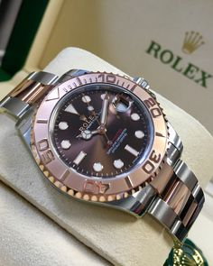 The perfect his or hers watch, the Rolex Yacht-Master 37 in steel & everose gold with chocolate dial 268621 from Global Watch Shop. Dream Watches, Cool Watches, Rolex Watches, Rolex Wrist Watch, Wrist Watches, Rolex Gmt Master, Expensive Watches, Hand Watch, Wedding Men