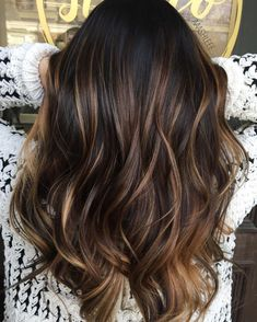 Brown hair with caramel highlights dark, hair highlights, caramel hair, bro Dark Hair With Highlights, Partial Highlights, Ombre On Dark Hair, Dark Hair With Balayage, Natural Highlights, Brunette Highlights, Black Ombre, Brunette Hair, T Section Highlights
