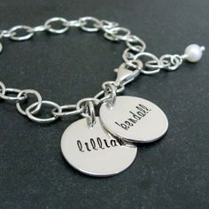 Hand Stamped Bracelet - Personalized Mothers Jewelry - Sterling Mom Tags. $58.00, via Etsy.