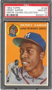 1954 Topps Hank Aaron rookie card PSA 10 Gem Mint from Dmitri Young collection now up for auction.