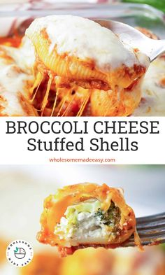 These Broccoli Cheese Stuffed Shells are a delicious meatless dinner the entire family will love. This cheesy but low calorie pasta dish freezes beautifully for an easy make-ahead meal. #pasta #meatlessmeal #vegetarian #lowcaloriemeal #stuffedshells Dinner Dishes, Pasta Dishes, Food Dishes, Main Dishes, Low Calorie Pasta, Vegetarian Entrees, Meatless Recipes, Pasta Recipes, Cooking Recipes