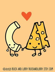 Macaroni Loves Cheese 8.5 x 11 Illustration Print by BuckAndLibby We Belong Together series We go together like macaroni and cheese