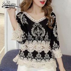 1edcd6e317de 2018 fashion summer tops lace blouse women shirt plus size sexy hollow lace  shirt flare sleeve