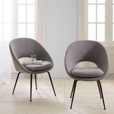 Orb Dining Chair - Individual, Yarn Dyed Linen Weave, Pumice at West Elm - Dining Chairs - Dining Room Furniture