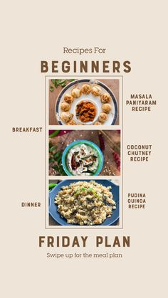 Weekly Recipes For Beginners - Foxtail Millet Upma, Paneer Bhurji Pav And Much Breakfast Items, Breakfast Recipes, Dinner Recipes, Paniyaram Recipes, Banana Sandwich, Coconut Chutney, Vegetable Curry, Weekday Meals, Chutney Recipes