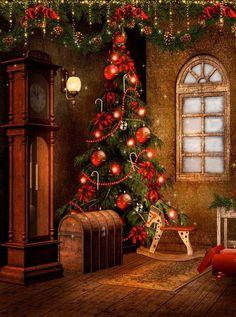 9268 Victorian Christmas Backdrop
