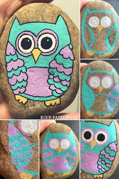 Owl Painted Rocks. Step by step instructions for painting rocks with owls on them. #owlpaintedrocks #owlrocks #rockpainting #animalrocks #birdrocks #stonepainting #rockpainting101