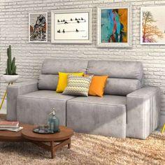 Sofa 3 Lugares Retrátil Eureka Suede Chumbo