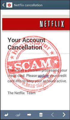 Netflix Cancellation Phishing Scam: The message is a phishing scam and Netflix did not send it. Clicking the link will take you to a fake Netflix website that asks for login credentials, credit card details, and other personal information. This information will be collected by criminals and used for credit card fraud and identity theft.