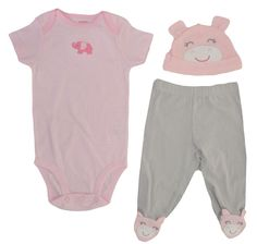 Carters Girls 3 Piece Outfit Set 9 Months Hat Pants Short Sleeve Pig Elephant
