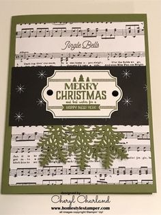 Labels to Love stamp set, with Merry Little Christmas and Merry Music Speciality dsp. Christmas Cards 2017, Christmas Card Crafts, Stampin Up Christmas, Merry Little Christmas, Christmas Themes, Handmade Christmas, Holiday Cards, Christmas 2019, Xmas Music
