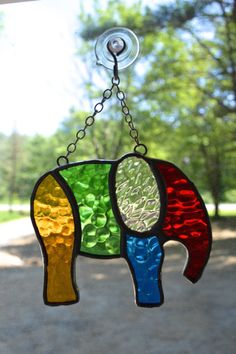 Elephant Stained Glass Suncatcher by HandmadeByRK on Etsy