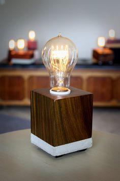 Wood Block Lamp with Vintage Bulb - Lignum Vitae Kitchen Lighting Design, Kitchen Lighting Fixtures, Outdoor Light Fixtures, Table Lamp Wood, Wood Lamps, Desk Lamp, Table Lamps, Vintage Industrial Lighting, Vintage Lamps