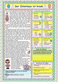 A nice story about the ill Easter Rabbit and how the other animals help him to hide the Easter eggs. Comprehension exercises and KEY included. Comprehension Exercises, Reading Comprehension Activities, Comprehension Worksheets, Reading Worksheets, Teaching English Grammar, German Language Learning, Learn German, Learn English, Easter Worksheets