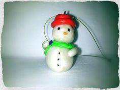 Muñeco de nieve de arcilla polimérica, hecho a mano