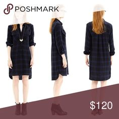 """Madewell Daywalk Shirtdress in Farmstand Plaid Supersoft plaid cotton lined with coordinating checks. A slight high low hem, perfect paired with leggings in colder weather. Cozy, relaxed boyshirt fit.   Approximately 36"""" long  ❌ Sorry, no trades. Madewell Dresses Long Sleeve"""