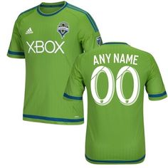 Men's Seattle Sounders FC adidas Rave Green 2015 Authentic Primary Custom Jersey