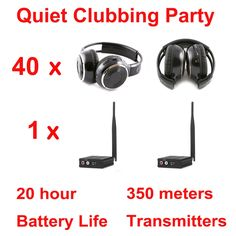 869.00$  Watch now - http://ali0g4.worldwells.pw/go.php?t=32738212694 - Silent Disco complete system black folding wireless headphones - Quiet Clubbing Party Bundle (40 Headphones + 1 Transmitters) 869.00$