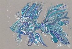 fishing zentangle | LWick #ACEO *PRINT* beautiful doodle #zentangle inspired #FISH 3