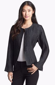 816ddd56d3e67  458 Eileen Fisher Black Crinkle Silk Leather Trim Blazer Jacket Leather  Jacket Dress