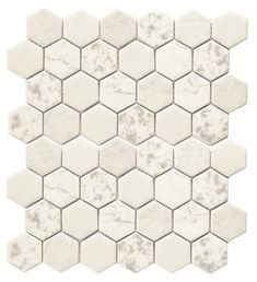 Recycled Hexagon Glass Tile Ancient White