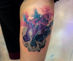 10 Cool and Colorful Watercolor Skull Tattoos
