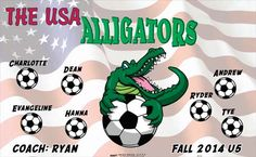 Alligators-USA-41214 digitally printed vinyl soccer sports team banner. Made in the USA and shipped fast by BannersUSA. www.bannersusa.com