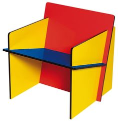 Medium: Wood Category: Bauhaus Furniture/Furnishings Something Interesting: The use of primary colors and a box shape makes this bauhaus. Mdf Furniture, Bauhaus Furniture, Furniture Making, Furniture Design, Modular Furniture, Bauhaus Chair, Modern Furniture, Furniture Cleaning, Italian Furniture