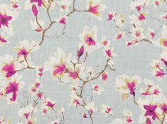 A flowering magnolia digitally printed on linen. Printed Linen  Designer Fabrics & Wallcoverings, Upholstery Fabrics