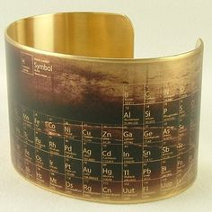 Steampunk Style Brass Cuff Bracelet - Periodic Table of Elements - Science Jewelry by JezebelCharms on Etsy https://www.etsy.com/listing/103385014/steampunk-style-brass-cuff-bracelet