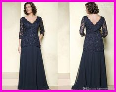 Wholesale Mother of the Bride Dresses - Buy LM Navy V Neck Plus Size 3/4 Long Sleeves Chiffon Lace Mother of the Bride Dresses Floor Length, $121.39 | DHgate