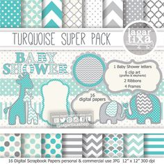 Gray Turquoise Digital Paper background textures patterns giraffe elephant chevron polka dots frames grey invitations baby shower printables #partyideas #partyplanner