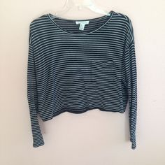 Longsleeve Crop Top Longsleeve crop boxy top with grey and black stripes. Pocket in front. Excellent condition- only worn once. Forever 21 Tops
