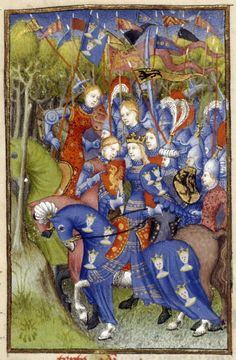 Detail of a miniature of Queen Penthesilea 1410 - 1414 - Paris, France Detail of a miniature of Queen Penthesilea with and her army of Amazons riding through the forest to aid the Trojan army, from L Epitre Othea, Harley MS 4431, f. 103v - See more at: http://britishlibrary.typepad.co.uk/digitisedmanuscripts/french/#sthash.PqJq1Z6q.dpuf amazons armour france french gauntlet horse manuscript miniature shield woman women ATHENAIA - Arms & Armour Database