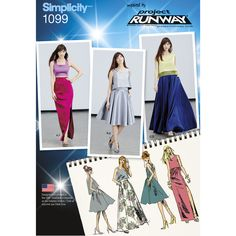 inspired by project runway two piece dress pattern is great for special occasions. pattern includes full maxi or knee length skirt with pockets, slim skirt with slit, loose or fitted crop top & top with contrast band.
