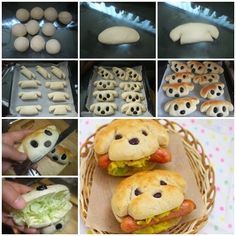 Cute and Yummy dog sandwiches. I'm assuming that no actual dogs were harmed in the making of these sandwiches. Cute and Yummy dog sandwiches I would make from bread dough Cute and Yummy dog sandwiches.Plain bread rolls shaped as shown with raisins for eye Cute Food, Good Food, Yummy Food, Hot Dog Buns, Hot Dogs, Hotdog Sandwich, Sandwich Ideas, Hotdog Dog, Sandwich Recipes
