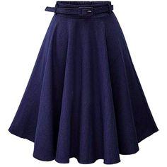 FC Select SS17 Fairtrade Denim Full Midi Skirt (46.345 CLP) ❤ liked on Polyvore featuring skirts, mid calf denim skirts, midi skirt, knee length denim skirt, blue skirt and denim skirt