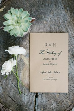 Rustic wedding #program Photography: Bellamint Photography - bellamintphotography.com