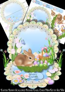 Easter Bunny Scalloped Round Easel Card Mini Kit