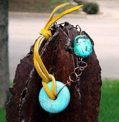 Turquoise Suede and Antique Copper chain by ButterflyCreekJewels, $30.00