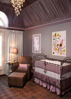 Love the fabric on the ceiling and the colors of this room