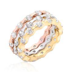 Cartier-Inspired Tricolor Triplet Stacker Ring ~ I am obsessed with white, gold, & rose gold together! <3 #bargainshopper #nomorerack