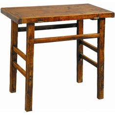 Reclaimed elm wood end table with a distressed finish.Product: End tableConstruction Material: Elm wood