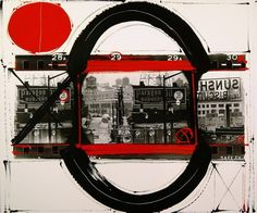 """The idea for the colour and graphics comes from the red lines photographers put around their choices on a contact sheet."" W.K. William Klein 'painted contact' series silver gelatin print with paint,"