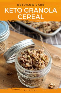 One crucial component of weight loss success is finding foods that are convenient, satisfying, and healthy. The perfect example of this is keto granola cereal. Not only is it a quick convenient keto meal, but each mouthful is fulfilling, flavorful, and filled with healthy fats, fiber, micronutrients, and health-promoting plant compounds. Serve with your favorite milk alternative for a satisfying high-fat breakfast any day of the week! #ketobreakfast #ketomeals #ketodiet #ketorecipes Low Carb Cereal, Keto Cereal, Quick Snacks, Keto Snacks, Low Carb Granola, Granola Cereal, Dairy Free Options, Cereal Recipes, Food Inspiration