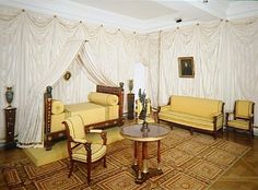 Napoleon's bedroom, Malmaison; It was on this spot on the first floor that Napoleon had his bedroom. The present state of the room dates back to the public opening in 1969. The bed (Jacob-Desmalter, 1806) was Eugène de Beauharnais's at the Tuileries and the remaining furniture (Jacob-Frères) comes from the First Consul's office in the Tuileries and his bedroom in Saint-Cloud.